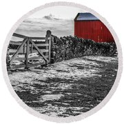 Shakertown Red Barn - Sc Round Beach Towel by Mary Carol Story