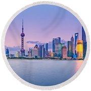 Shanghai Pudong Skyline  Round Beach Towel