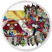 Round Beach Towel featuring the tapestry - textile Shango Firebird by Apanaki Temitayo M