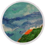 Round Beach Towel featuring the painting Shangri-la by First Star Art
