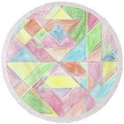 Shapes Of Colour Round Beach Towel