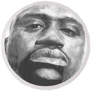 Round Beach Towel featuring the drawing Shaq by Tamir Barkan