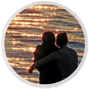 Sharing A Sunset Squared Round Beach Towel