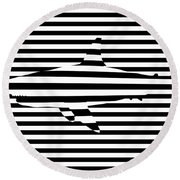 Shark Optical Illusion Round Beach Towel