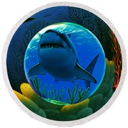 Shark World  Round Beach Towel by Robin Moline