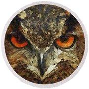 Sharpie Owl Round Beach Towel
