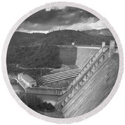 Shasta Lake Dam Round Beach Towel