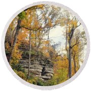 Round Beach Towel featuring the photograph Shawee Bluff In Fall by Marty Koch