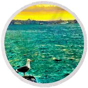 Round Beach Towel featuring the photograph She Is Late Again  by Zafer Gurel