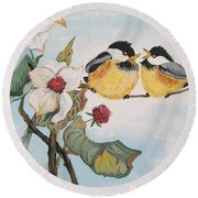 Round Beach Towel featuring the painting She Said by Sharon Duguay