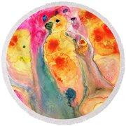 She Sings - Yellow Bird Art By Sharon Cummings Round Beach Towel