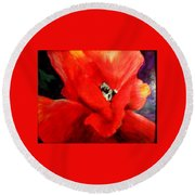 Round Beach Towel featuring the painting She Wore Red Ruffles by Gail Kirtz