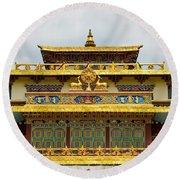 Shechen Monastery In Kathmandu Round Beach Towel