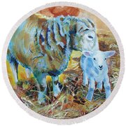Sheep And Lamb Round Beach Towel