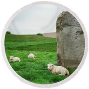 Sheep At Avebury Stones - Original Round Beach Towel