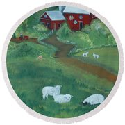 Sheeps In The Meadow Round Beach Towel