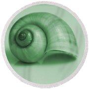 Shell. Light Green Round Beach Towel