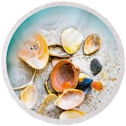 Shell Paradise  Round Beach Towel by Mary Ward