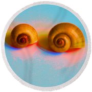 Shells In Colors Round Beach Towel