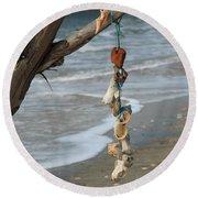 Shells On A String Round Beach Towel