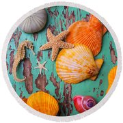 Shells On Old Green Board Round Beach Towel