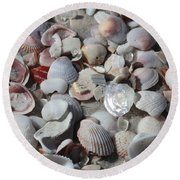 Shells On Treasure Island Round Beach Towel