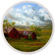 Round Beach Towel featuring the painting Shelter From The Storm by Meaghan Troup