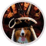 Sheltie - Shetland Sheepdog Art Canvas Print - Pirates Of The Caribbean The Curse Of The Black Pearl Round Beach Towel