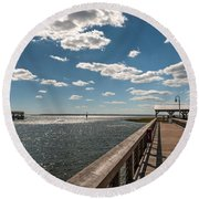 Shem Creek Pavilion  Round Beach Towel