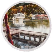Round Beach Towel featuring the painting Shepherd Mountain Lake In Twilight by Kip DeVore