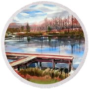 Round Beach Towel featuring the painting Shepherd Mountain Lake In Winter by Kip DeVore