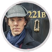 Round Beach Towel featuring the painting Sherlock Holmes Artwork by Sheraz A