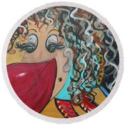 Round Beach Towel featuring the painting She's A Beauty by Eloise Schneider