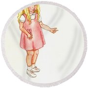 Round Beach Towel featuring the pastel Shez by Kim Pate