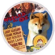 Shiba Inu Art Canvas Print - The Wizard Of Oz Movie Poster Round Beach Towel