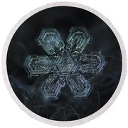 Round Beach Towel featuring the photograph Snowflake Photo - Shine by Alexey Kljatov