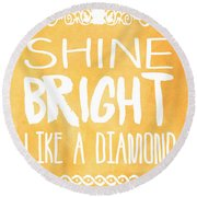 Shine Bright Orange Round Beach Towel