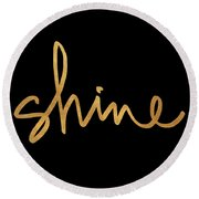 Shine On Black Round Beach Towel