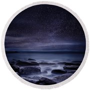 Shining In Darkness Round Beach Towel