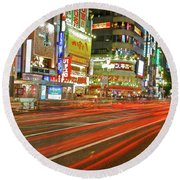 Shinjuku Neon Strikes Round Beach Towel