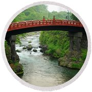 Shinkyo In Nikko Round Beach Towel