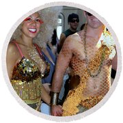Round Beach Towel featuring the photograph Shiny Happy People by Ed Weidman