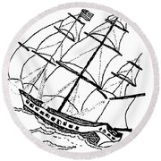 Ship - Boat - Revolutionary War Round Beach Towel by Susan Carella