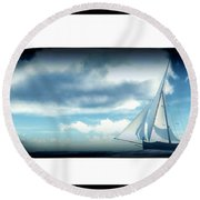 Round Beach Towel featuring the digital art Ship In Bottle... by Tim Fillingim