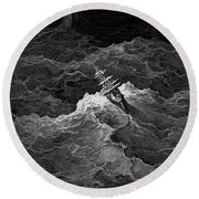 Ship In Stormy Sea Round Beach Towel