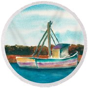 Ship In The Marsh Round Beach Towel