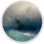 Ship On Stormy Seas Round Beach Towel