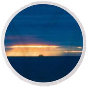Ship On The Horizon Round Beach Towel