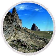 Round Beach Towel featuring the photograph Shiprock by Alan Socolik
