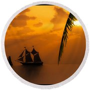 Ships And The Golden Dawn... Round Beach Towel by Tim Fillingim